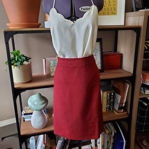 J Crew Burgundy Pencil Skirt